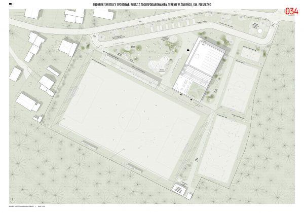 Ilustracja. I miejsce w konkursie na opracowanie koncepcji architektonicznej budynku świetlicy sportowej wraz z zagospodarowaniem terenu w Żabieńcu