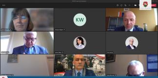 zrzut ekranu z XXXVIII sesji online Rady Miejskiej w Piasecznie