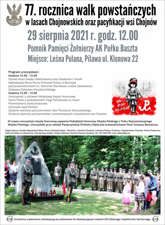 Plakat wydarzenia Uroczystość zokazji rocznicy walk powstańczych wLasach Chojnowskich, pacyfikacji wsi Chojnów przezNiemców irozstrzelania 23 mieszkańców Chojnowa – wtym 5 braci Czapskich