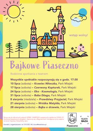 Bajkowe Piaseczno - plakat plenerowych spektakli w parku