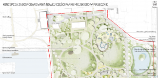 Teren objęty opracowaniem. Koncepcja dla nowej części parku w Piasecznie