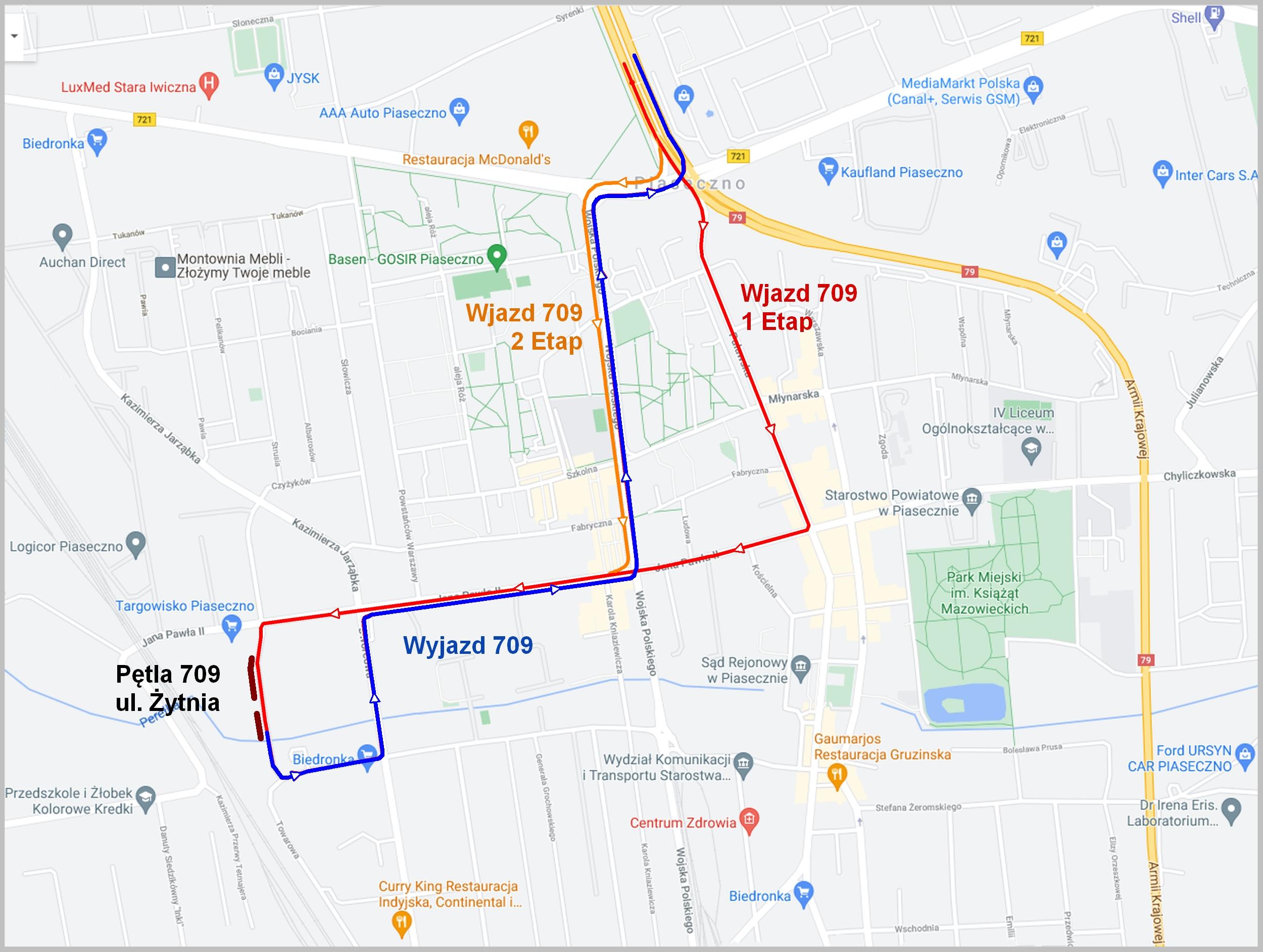 Mapa zmian trasy linii autobusowej 709 na okres prac remontowych
