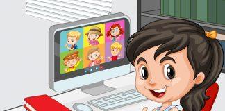 Dziecko przy komputerze, nauka zdalna wideokonferencja dzieci plik wektorowy utworzony przez brgfx - pl.freepik.com