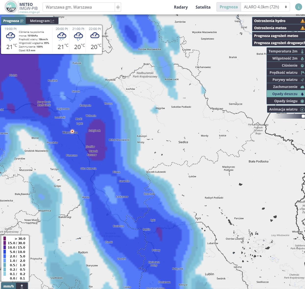 Screen z serwisu pogodowego meteo.imgw.pl 9 lipca 2021 r.
