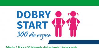 Infografika program Dobry Start 300+ obsługiwany przez ZUS