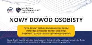 Plakat nowe dowody osobiste z odciskiem palców oraz podpis posiadacza dowodu