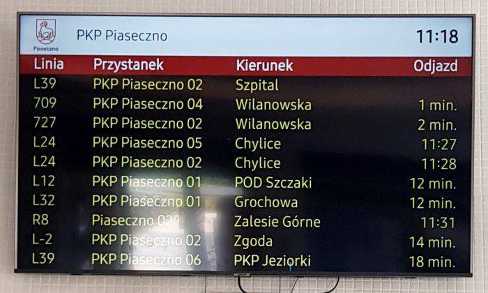 System informacji pasażerskiej w Piasecznie, ekran z informacją o czasie przyjazdu poszczególnych linii na dworcu PKP Piaseczno
