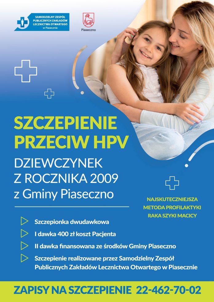 Plakat Szczepienie przeciw HPV dziewczynek z rocznika 2009 z terenu gminy Piaseczno