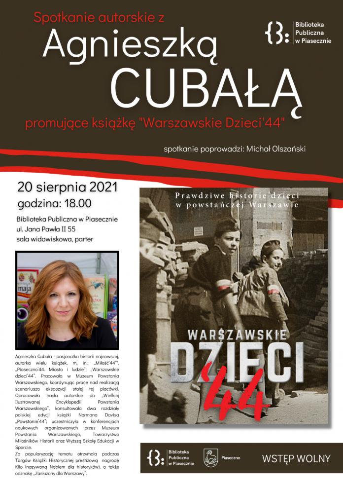Plakat wydarzenia Warszawskie dzieci '44 - spotkanie autorskie z Agnieszką Cubałą