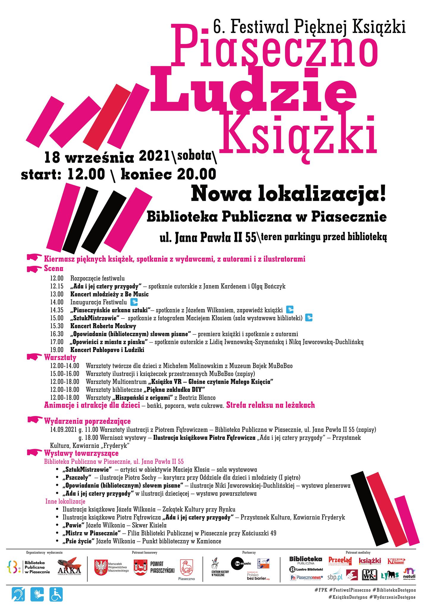 Harmonogram wydarzenia 6. Festiwal Pięknej Książki Piaseczno - Ludzie - Książki