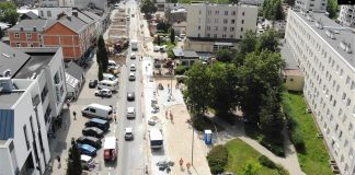 Remontowany odcinek ulicy Puławskiej w Piasecznie
