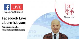 Tablica informująca o spotkaniu online z burmistrzem Danielem Putkiewiczem 04.08.2021 godzina 18:00