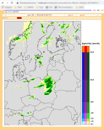 Odwołujemy pokaz kina plenerowego 20 sierpnia 2021 - screen mapy meteo.pl