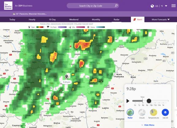 Odwołujemy pokaz kina plenerowego 20 sierpnia 2021 - screen mapy weather.com