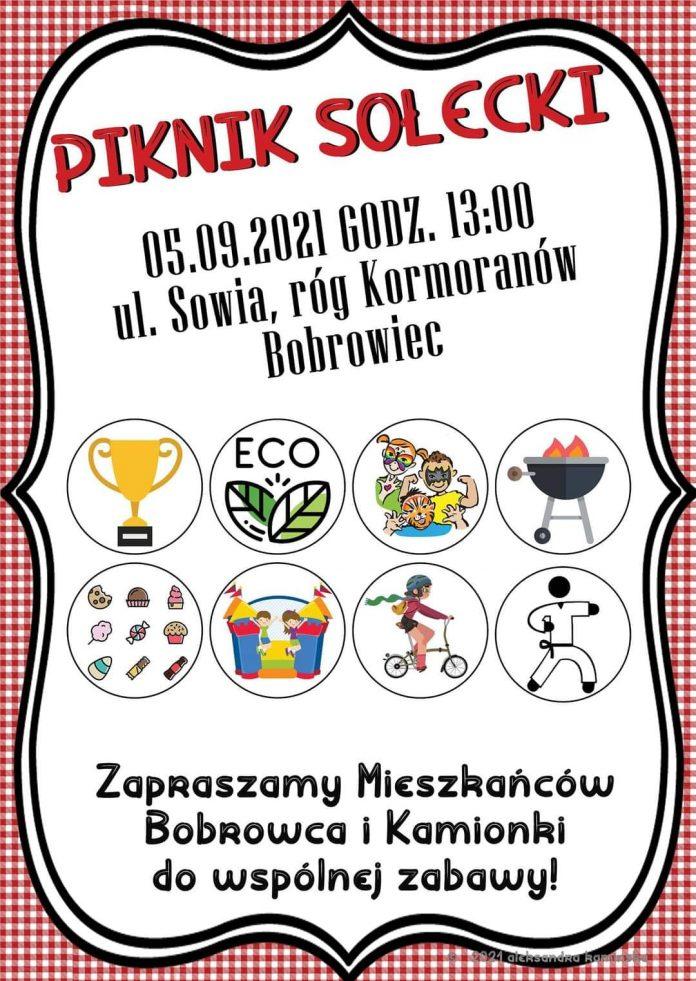 Plakat wydarzenia piknik sołecki mieszkańców Kamionki i Bobrowca