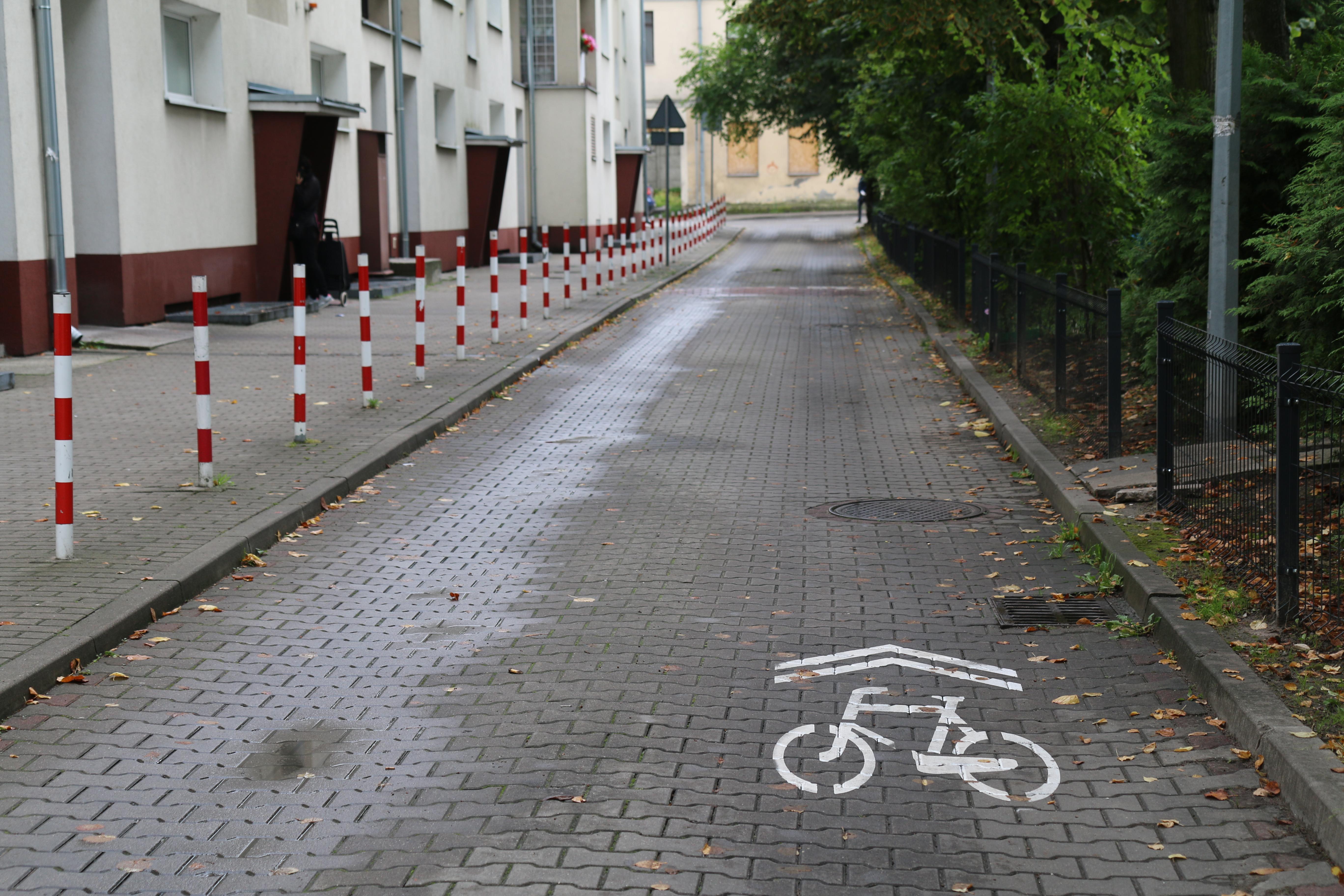 Nowa infrastruktura rowerowa w Piasecznie. Na zdjęciu sierżanty rowerowe wymalowane na drodze.