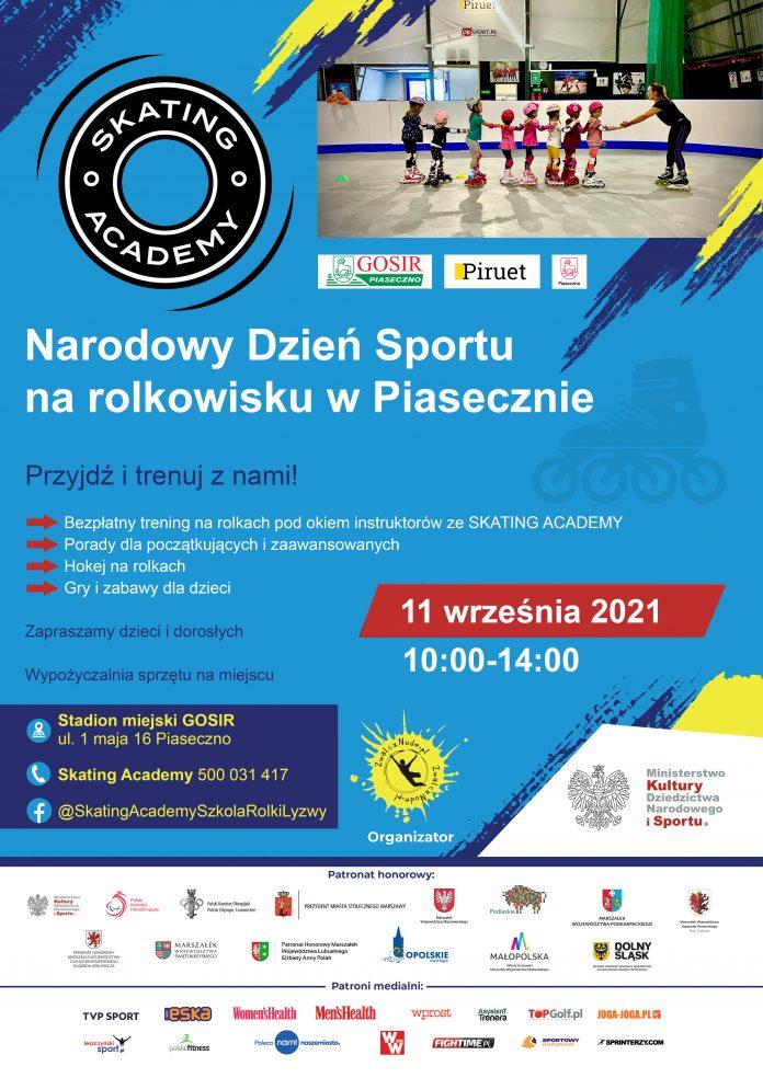 Plakat wydarzenia. Narodowy Dzień Sportu na rolkowisku w Piasecznie
