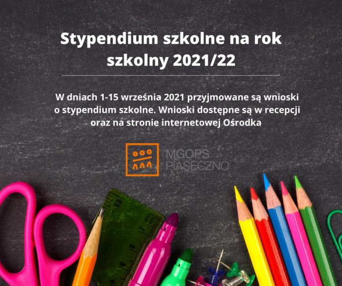 Plakat. Stypendium szkolne na rok szkolny 2021/2022
