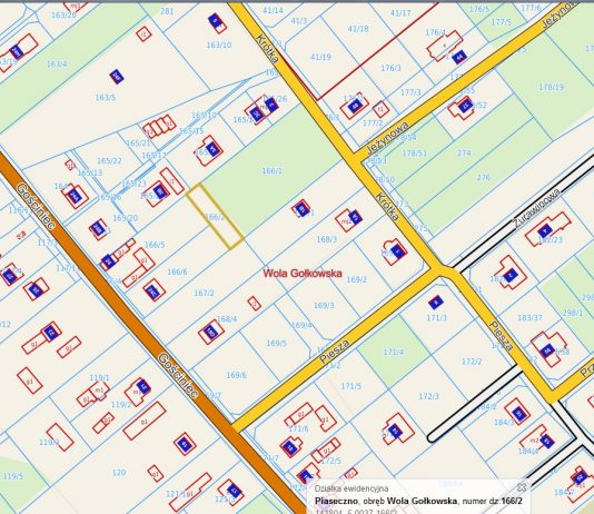 Zrzut ekranu dz. 166.2 II przetarg pisemny ograniczony na sprzedaż nieruchomości gruntowej niezabudowanej oznaczonej jako działka ewid. nr 166/2 o powierzchni 0,04ha, położona w miejscowości Wola Gołkowska gm. Piaseczno