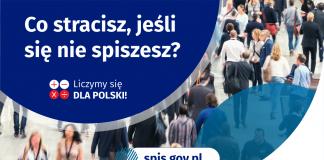 Co stracisz, jeśli się nie spiszesz. Na grafice jest napis: Co stracisz, jeśli się nie spiszesz? Poniżej umieszczone są cztery małe koła ze znakami dodawania, odejmowania, mnożenia i dzielenia, obok nich napis: Liczymy się dla Polski! Na dole grafiki jest adres strony internetowej: spis.gov.pl. Obok umieszczony jest logotyp spisu: dwa nachodzące na siebie pionowo koła, GUS, pionowa kreska, Narodowy Spis Powszechny Ludności i Mieszkań 2021.