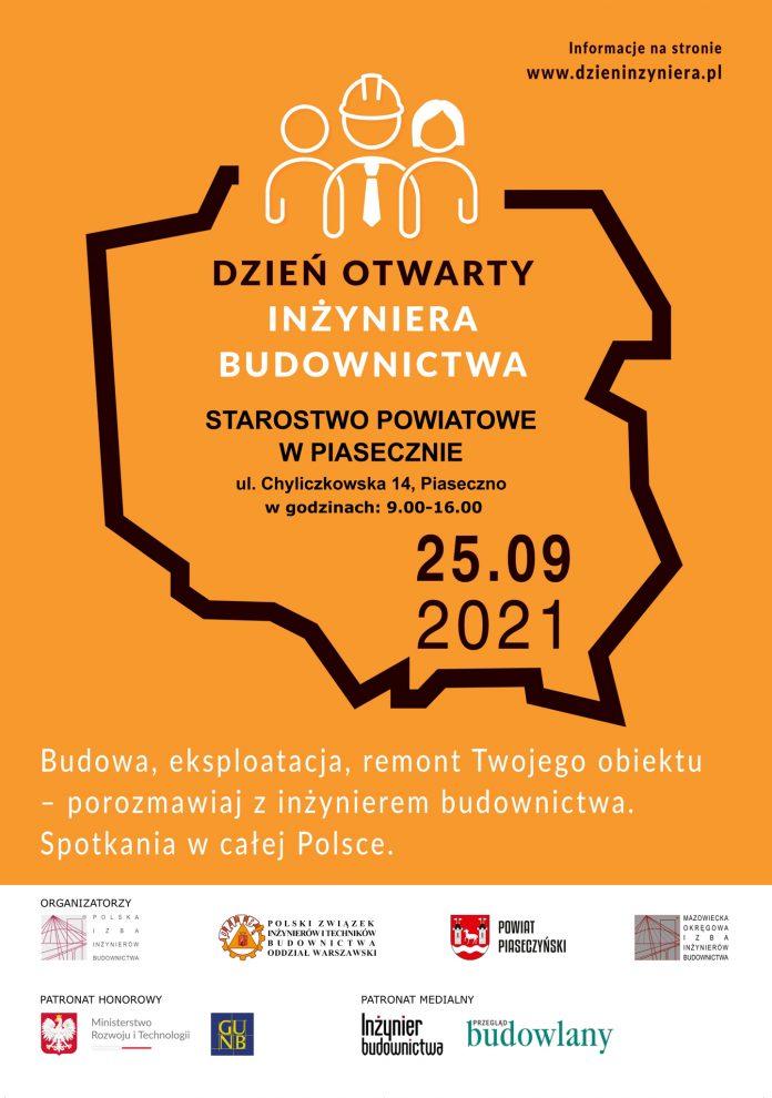 Plakat wydarzenia Dzień Otwarty Inżyniera Budownictwa w Starostwie Powiatowym w Piasecznie