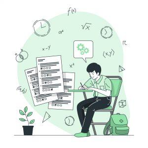 Grafika. Uczeń wypełnia test na egzaminie w szkole. Dziecko przy biurku, testy, plecak, szkoła, egzamin.