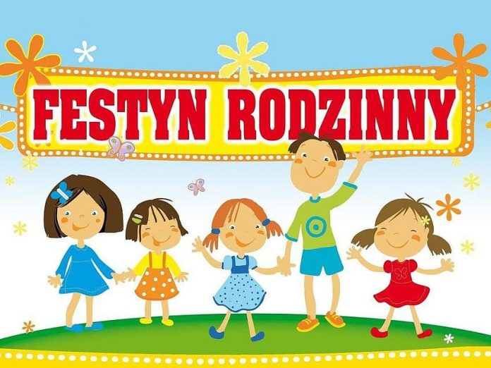 Ilustracja wydarzenia festyn rodzinny w Jastrzębiu. Na grafice znajduje się napis Festyn Rodzinny oraz dzieci na zielonej trawie.
