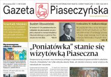 Pierwsza strona biuletynu informacji Gazeta Piaseczyńska nr 5/2021