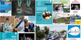 Kolaż plakatów wydarzeń na weekend 10-12 września 2021 r. Spędź weekend razem z nami w Piasecznie.