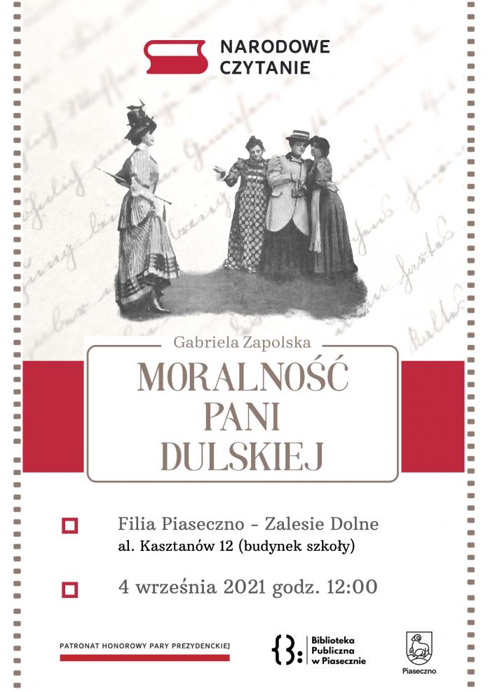 Plakat wydarzenia Narodowe Czytanie 2021 w Zalesiu Dolnym - Moralność Pani Dulskiej