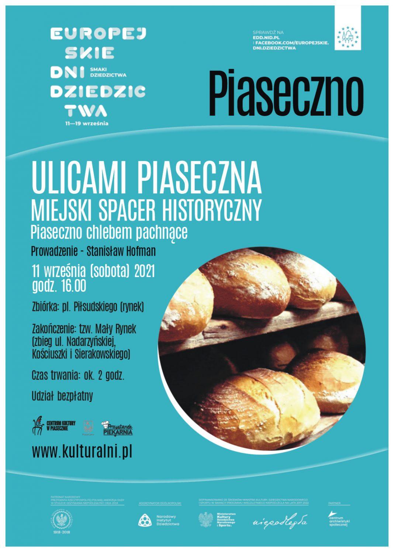 Plakat wydarzenia Piaseczno chlebem pachnące - Ulicami Piaseczna Miejski Spacer Historyczny