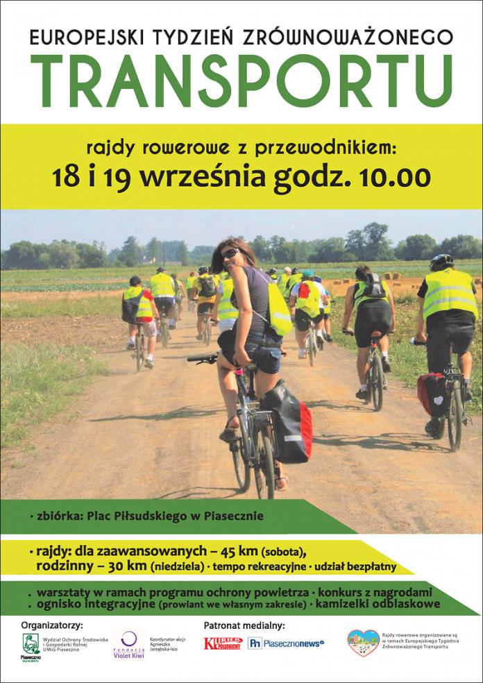 Plakat wydarzenia Europejski Tydzień Zrównoważonego Transportu 2021 - rajdy rowerowe z przewodnikiem