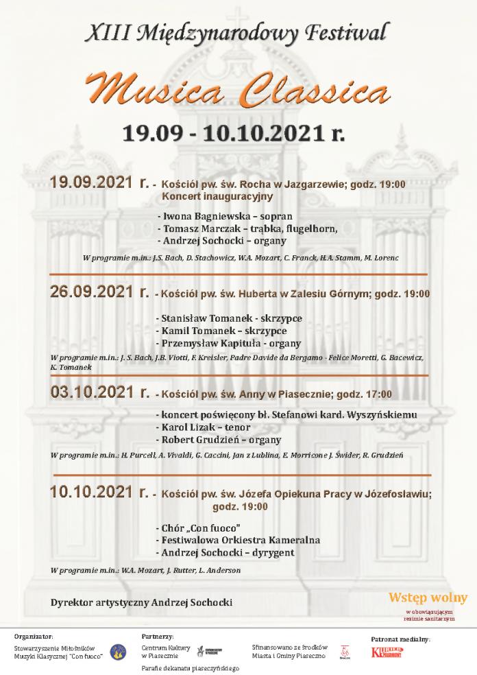 Plakat wydarzenia XIII Międzynarodowy Festiwal Musica Classica 2021 Gmina Piaseczno
