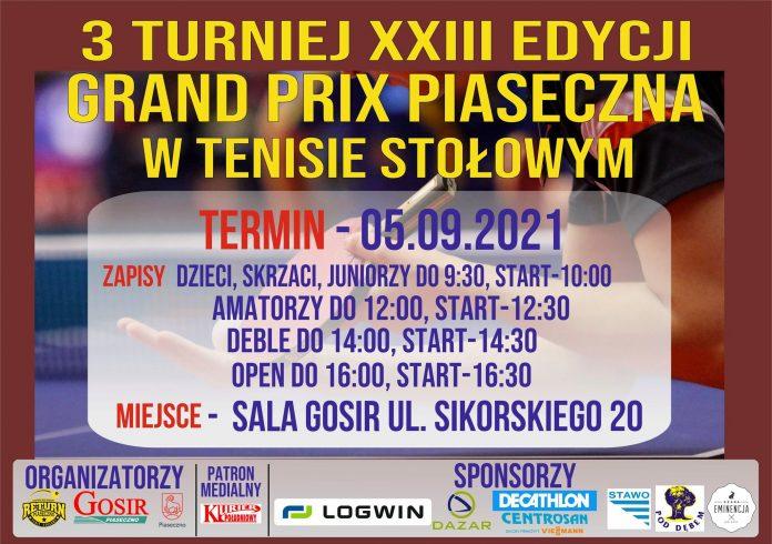 Grand Prix Piaseczna w tenisie stołowym - 5 września 2021r.