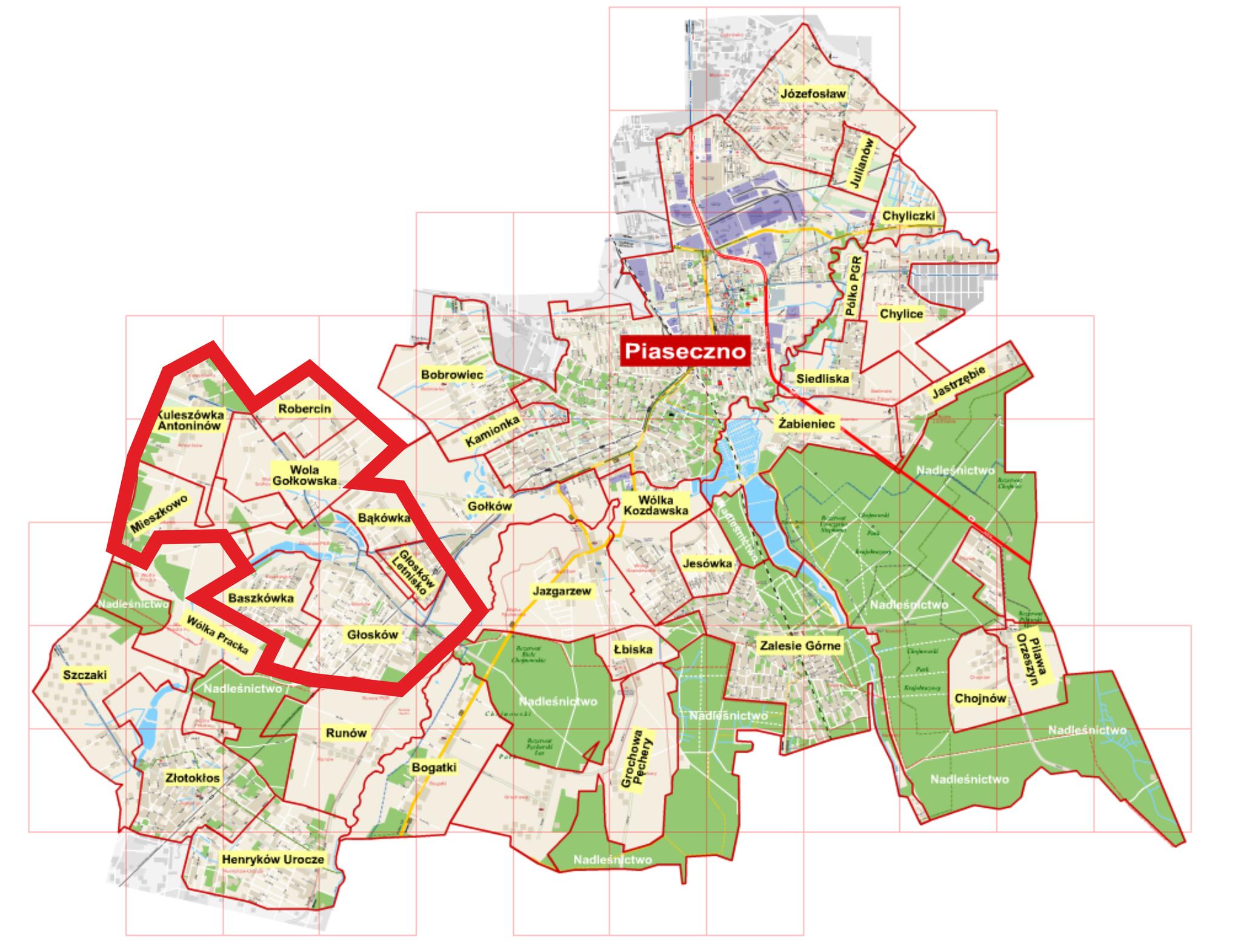 Mapa sołectw których dotyczą konsultacje społeczne na temat oferty przewozowej w obszarach wiejskich północno-zachodniej części gminy Piaseczno