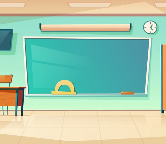 Ilustracja. Klasa lekcyjna w szkole. Empty classroom interior, school or college class with teacher table, laptop, green blackboard with protractor, clock hanging on wall and books cupboard, room for studying. Cartoon vector illustration