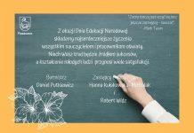 tablica z życzeniami na Dzień Nauczyciela