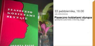 """""""Piaseczno Kobietami Słynące"""" – premiera książki i spotkanie autorskie. Na plakacie reklamującym wydarzenie w bibliotece zdjęcie okładki książki."""