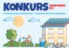 Plakat informujacy o konkursie. na niebieskim tle rysunki pokazujące wykorzystanie wody deszczowej przez rodzinę w ogrodzie