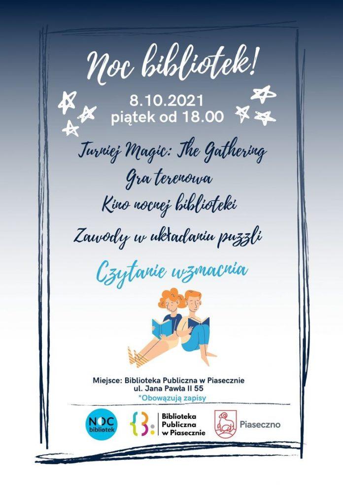 Plakat wydarzenia Noc Bibliotek 2021 w Bibliotece Głównej w Piasecznie